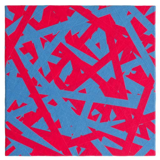 O.T. (ROT BLAU), 2018 Markierungsband auf Leinwand, 50 x 50 cm