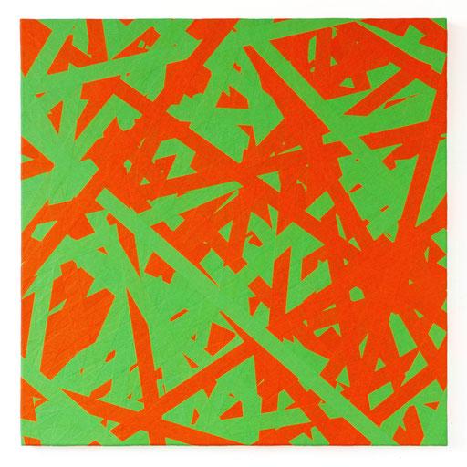 O.T., 2018 Markierungsband auf Leinwand, 100 x 100 cm