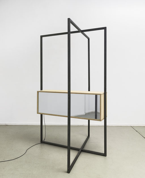 o.T. (I 02-2016), Steel, wooden box, unidirectional mirrors, LED, electronic control, 260x165x180cm