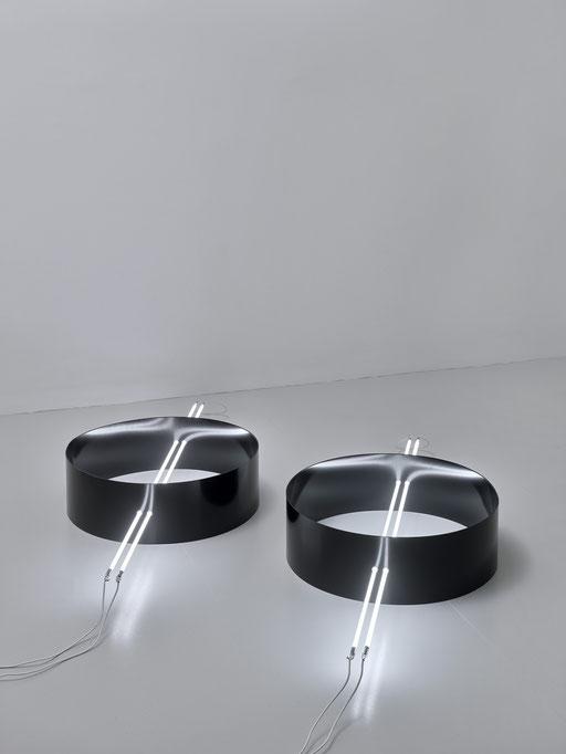 o.T. (I 10/02-2019), Steel powder coated, Ø 65cm, neon systems, neon 160cm