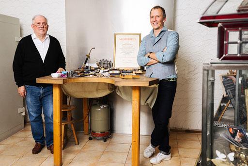 Goldschmiedemeister Detlef Felten und Goldschmied und Dipl. Industrie Designer Gregor Felten
