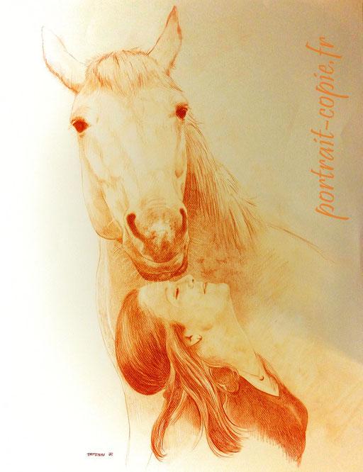 portrait dessiné ,  cheval crayon sanguine commande  d après photos.