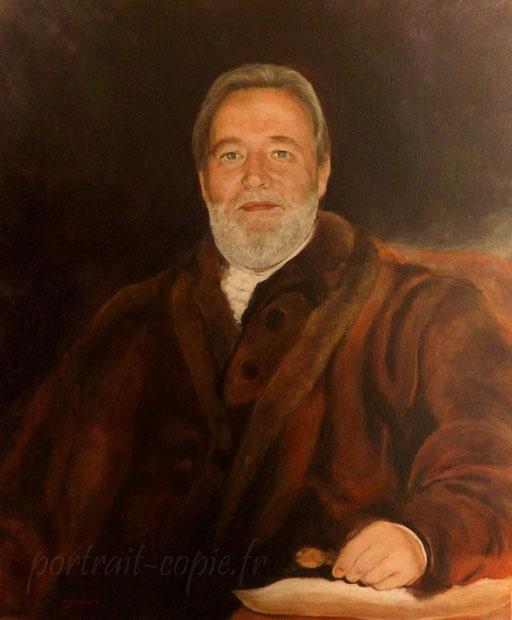 portrait peint à l'huile, homme en buste  réalisé  à la  manière ancienne, interprétation  à  partir  d une photo et d un tableau.