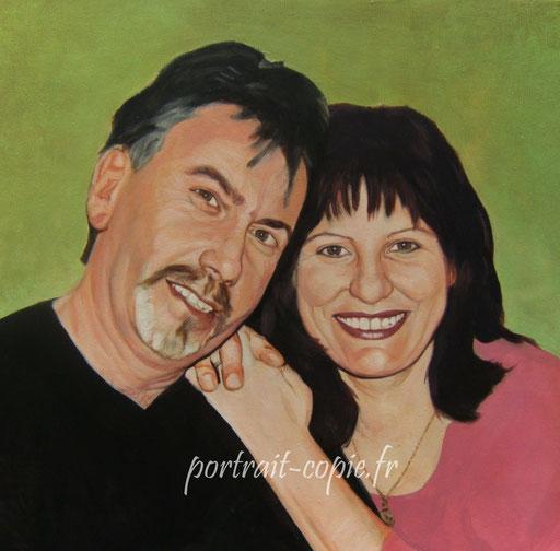 portrait peinture à l'acrylique à  deux visages sur toile de lin, peint d après photo.
