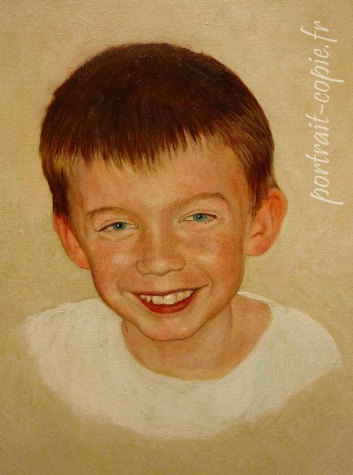 portrait peint à  l huile et à  l acrylique  sur toile de lin, d'après photo sur commande.