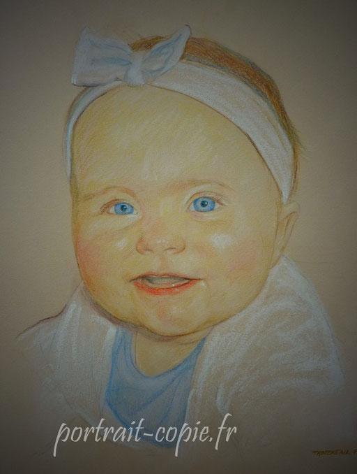 portrait dessiné aux pastel de couleurs  sur papier canson teinté. Réalisation du dessin  sur commande  d après photo .