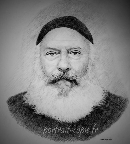 portrait dessiné au pastel noir et blanc sur un fond gris d après photo.