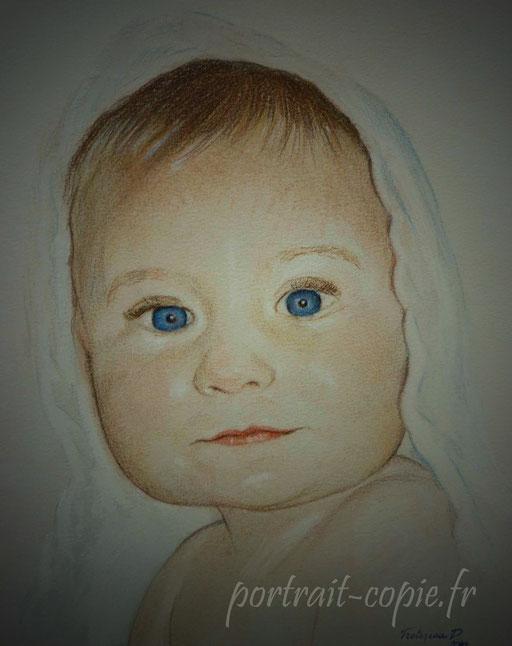 portraits dessiné aux pastels en couleur , sur feuille de papier  teintée.réalisation d après photo .