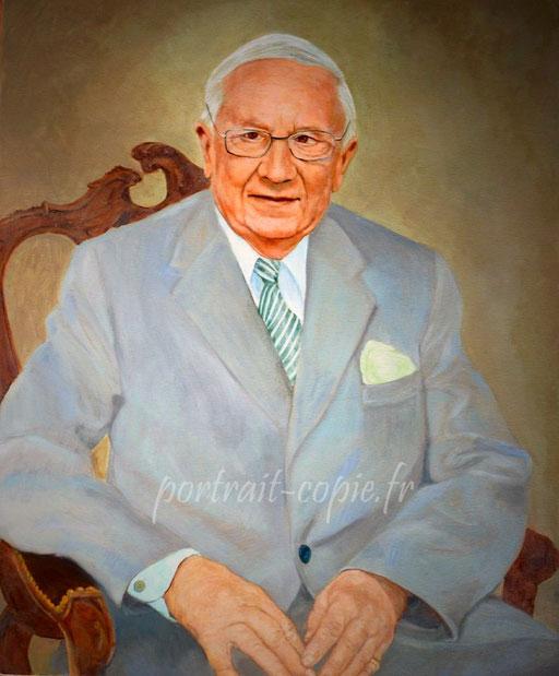 portrait peint à  l huile sur toile de lin,portrait  en buste d après  photo.