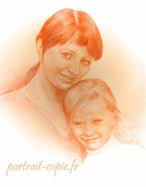portrait dessin crayon de couleur, deux  visages  réalisé  à la  sanguine sur papier canson.