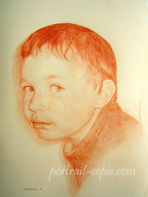 portrait dessin au crayon sanguine sur papier teinté  crème réalisé  sur commande à partir d une photo .