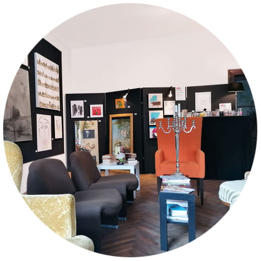 KUNSTwand(eln) | 2019 |  Kunstcafé SÜDPOL | Weitra | Werke: Dietz Axxl, Mardnli Judy, Schnabl Walter, manutober, Zinner Tatjana