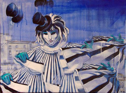 """Acryl auf Leinwand 80x60 """"Harlekin 2""""                         2012                       Karneval in Venedig"""