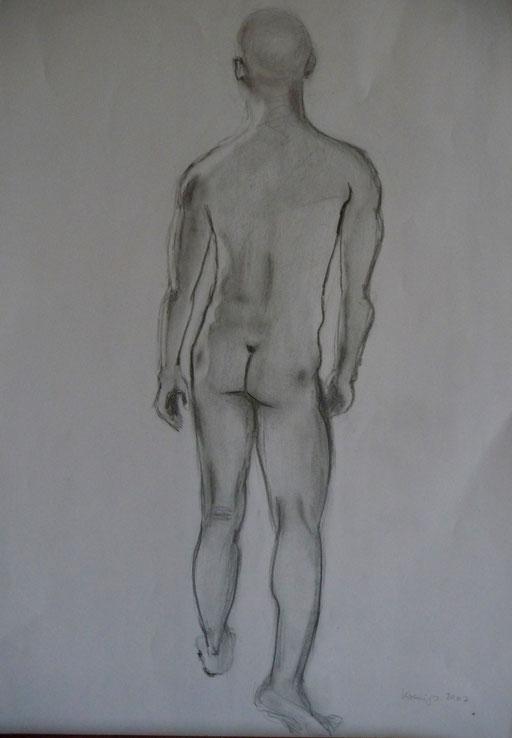 Bleistiftzeichnung  42x59  männlicher Akt Nr.2           2007
