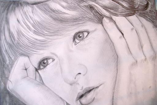 """Bleistiftzeichnung 42x59  """"Selbstportrait""""                     2004"""