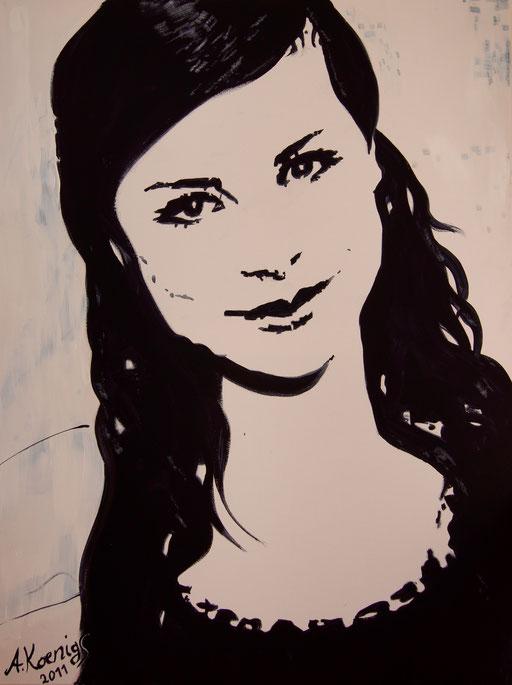 """Acryl auf Leinwand 50x70              """"Lena 2""""                               2011           Privatbesitz"""