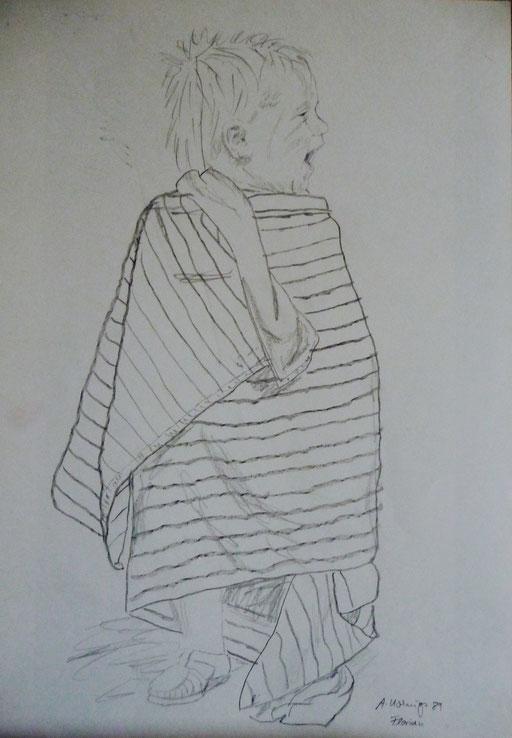 """Bleistiftzeichnung 30x40  """" Florian im Badetuch""""        1989"""