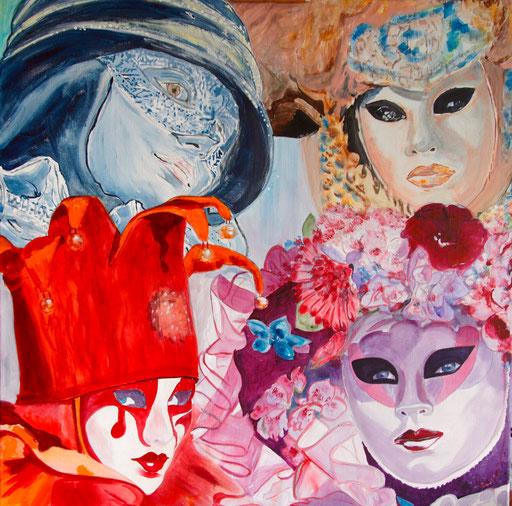 """Acryl Mischtechnik a. LW 90x90 """" Carnevale Mystic"""" 2012                      Karneval in Venedig"""
