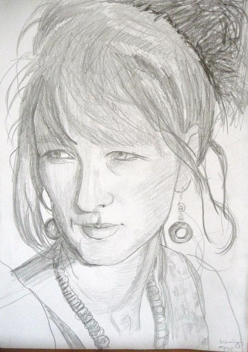 """Bleistifteichnung 42x59  """"Selbstportrait""""                       2005"""