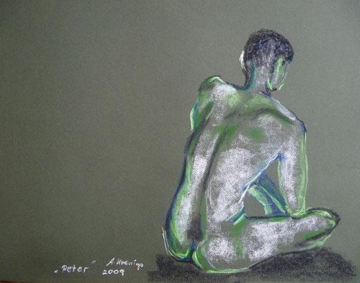 Pastellkreide auf Papier 42x59 männlicher Akt Nr.3         2009