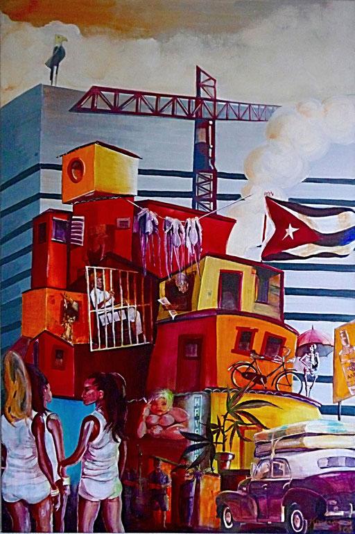 """Acryl auf Leinwand 65x110 """" Cuba Impressionen""""        2006"""