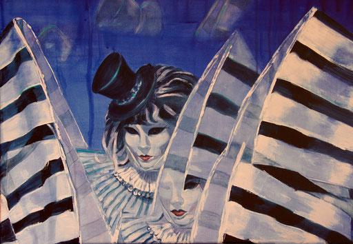 """Acryl auf Leinwand 80x60 """"Harlekin 1""""                          2012                       Karneval in Venedig"""