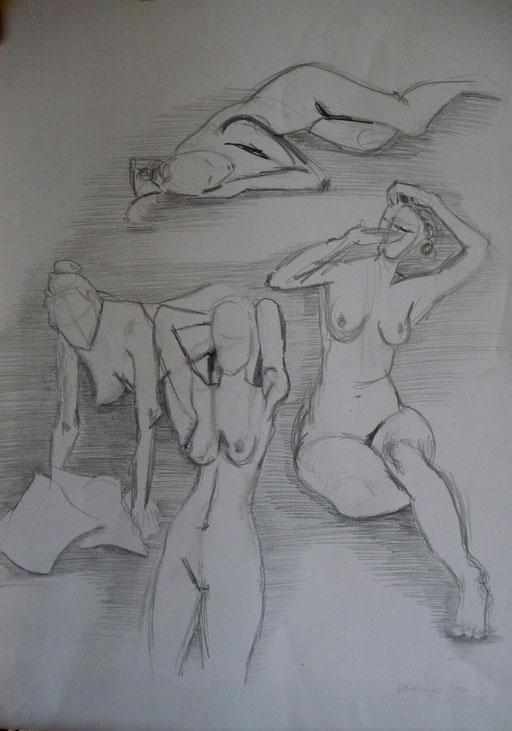 Bleistiftzeichnung 42x59  weibliche Aktstudie              2006