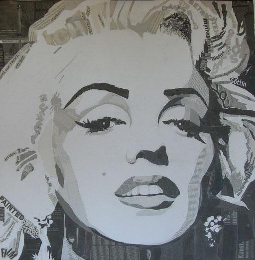 """Collage aus Zeitungspapier a. LW 80x80 """"Marilyn"""" 2008"""