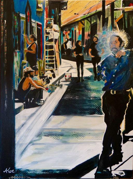 """Acryl und Collage auf Leinwand 60x80 """" Val Paraiso""""  2017"""