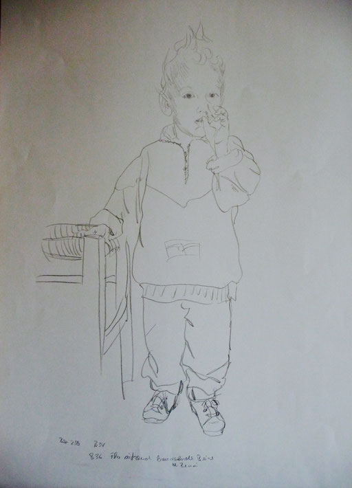 """Bleistifteichnung   30x40 """"Florian""""                                  1989"""