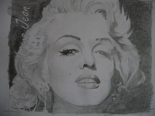 """Bleistiftzeichnung 42x59 """"Goodbye Norma Jean""""        2007"""