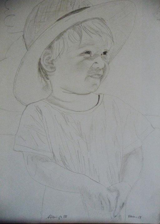 """Bleistift auf Papier 30x40  """"Florian mit Hut""""                 1988"""