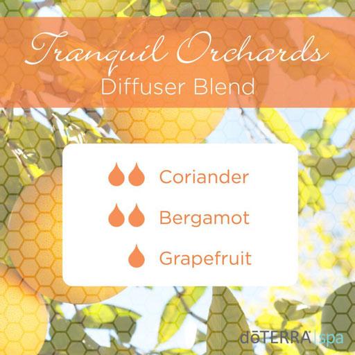 Aroma Welt: doTERRA Bergamot - Bergamotte Ätherisches Öl Diffusermischungen - Diffuser Ideen: Tranquil Orchards - Coriander, Grapefruit