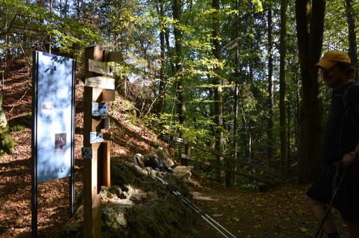 """Knifflige Wegstelle - Beginn und Ende der Schleife durch das Geotop """"Riesenburg"""" mit Aufstieg auf dem historischem Brunnweg"""