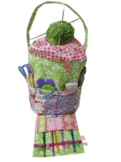 Handarbeitskorb, Stricktasche, Knooking-Bag, Wollkorb, Nähkorb, Knit-to-go