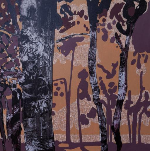 jardin d'Eden Ia, acrylique sur toile, 65 x 65 cm.