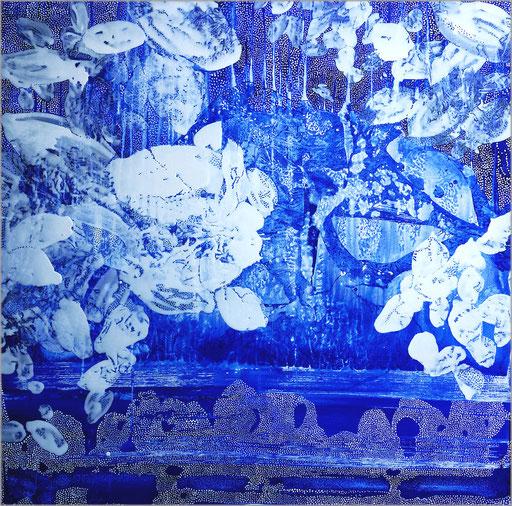pigment et acrylique sur toile, 100 x 100 cm.