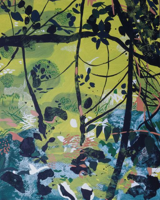 jardin d'Eden IIIa, acrylique sur toile, 100 x 81 cm.