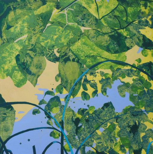 jardin d'Eden VII, acrylique sur toile, 80 x 80 cm.