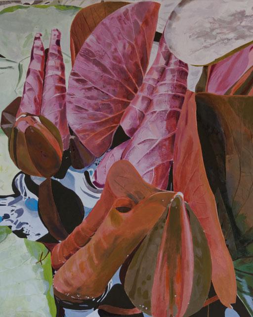 A côté des lotus, acrylique sur toile, 100 x 81 cm.