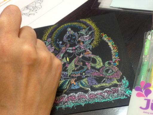 みなさん美しい仏画を描き上げます