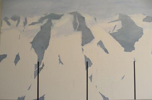 Montagne», 2015 huile et acrylique sur toile,142/212 cm . 2015