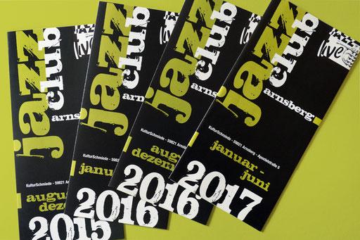 Jazzclub Arnsberg: Programmflyer für Konzerte, 2 x jährlich