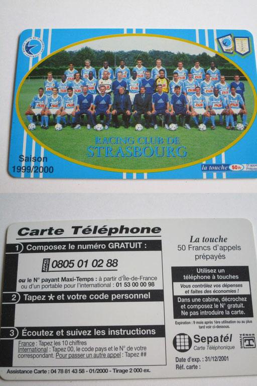 Carte téléphonique sortie pour la saison 99/00 (Contributeur Pepito)