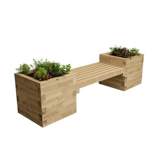 ©WoodBlocX, Banc avec jardinières intégrées