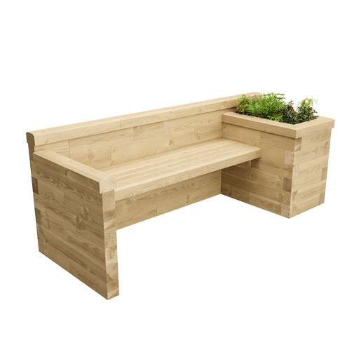 ©WoodBlocX, siège avec jardinières intégrées