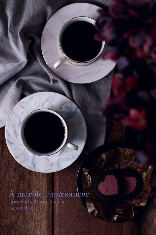 ポーセラーツ 大理石 コーヒータイム