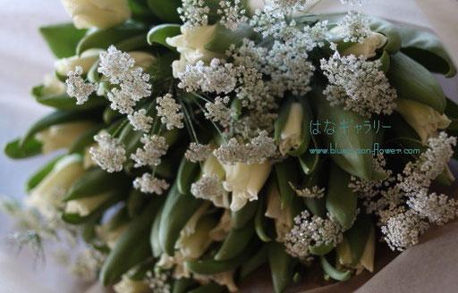 チューリップ 白い花束 お誕生日