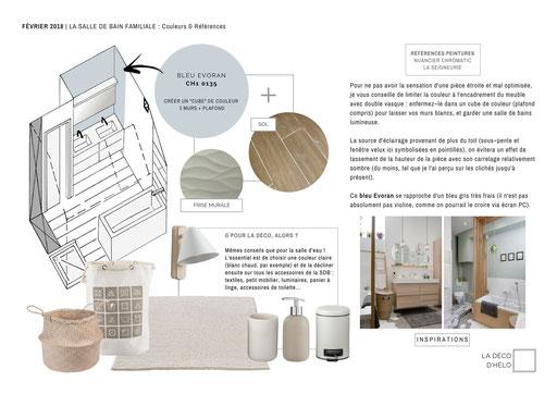 Salle de bains familiale à l'étage : présentation des peintures et inspiration pour les accessoires (rangements et serviettes).