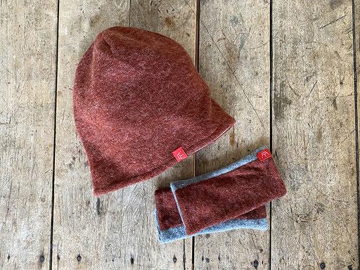 Set aus Angora-Jersey in rost: Mütze und Pulswärmer | Mütze 26,00 Euro, Pulswärmer 18,00 Euro